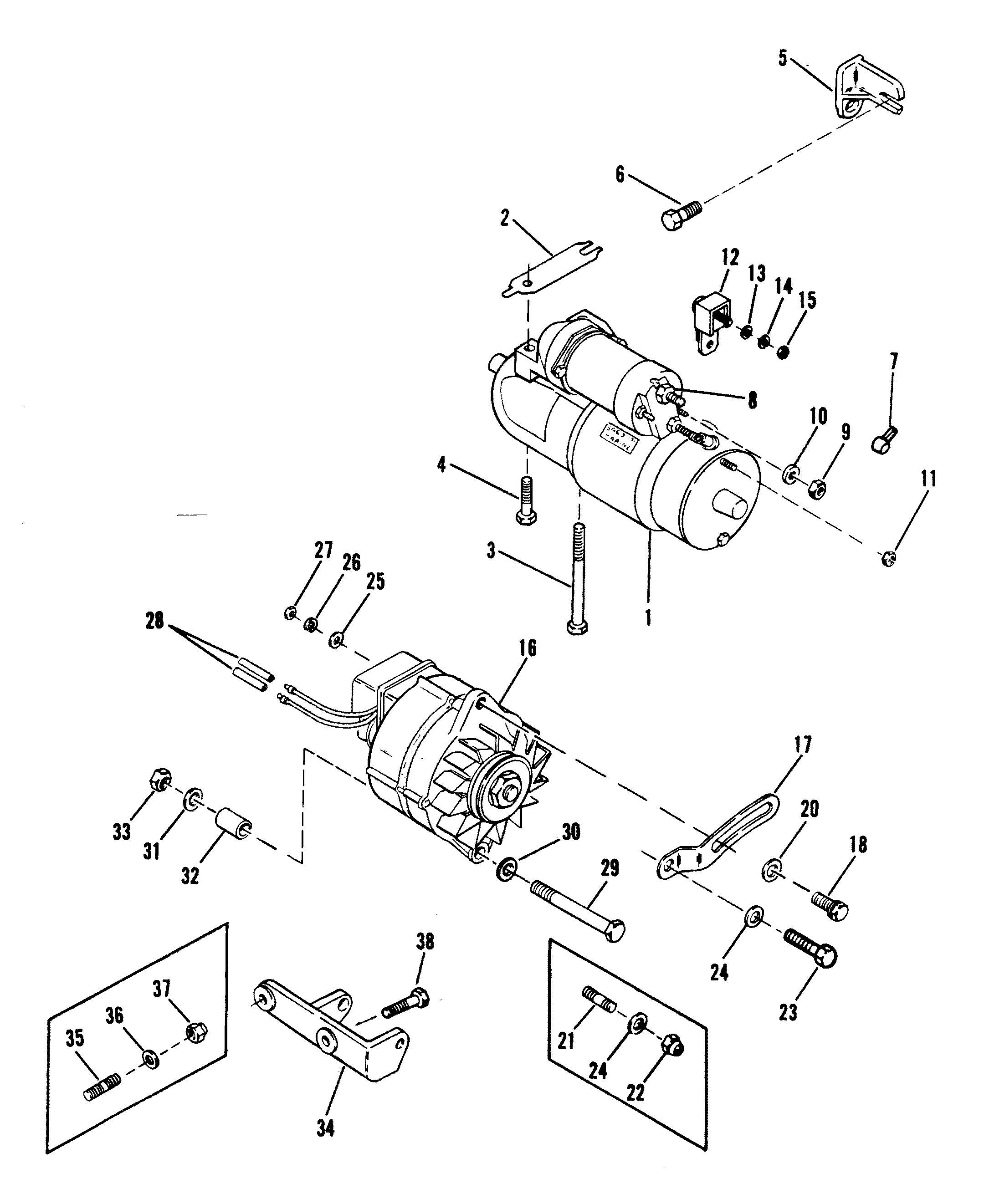 Starter Motor And Alternator For Mercruiser 120 H P 2
