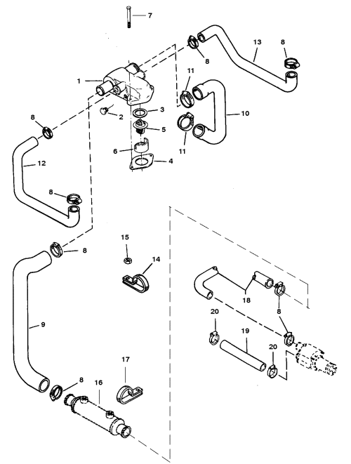 small resolution of standard cooling system bravo engines for mercruiser 5 7l lx tbi 7 4 mercruiser cooling system diagram