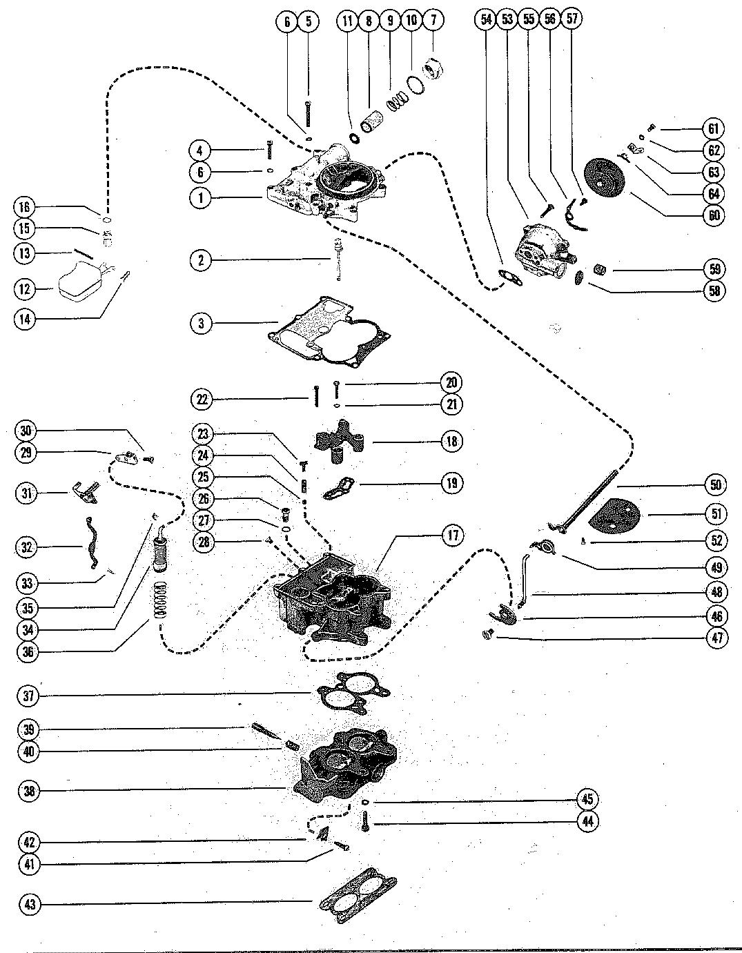 CARBURETOR ASSEMBLY FOR MERCRUISER 485 ENGINE