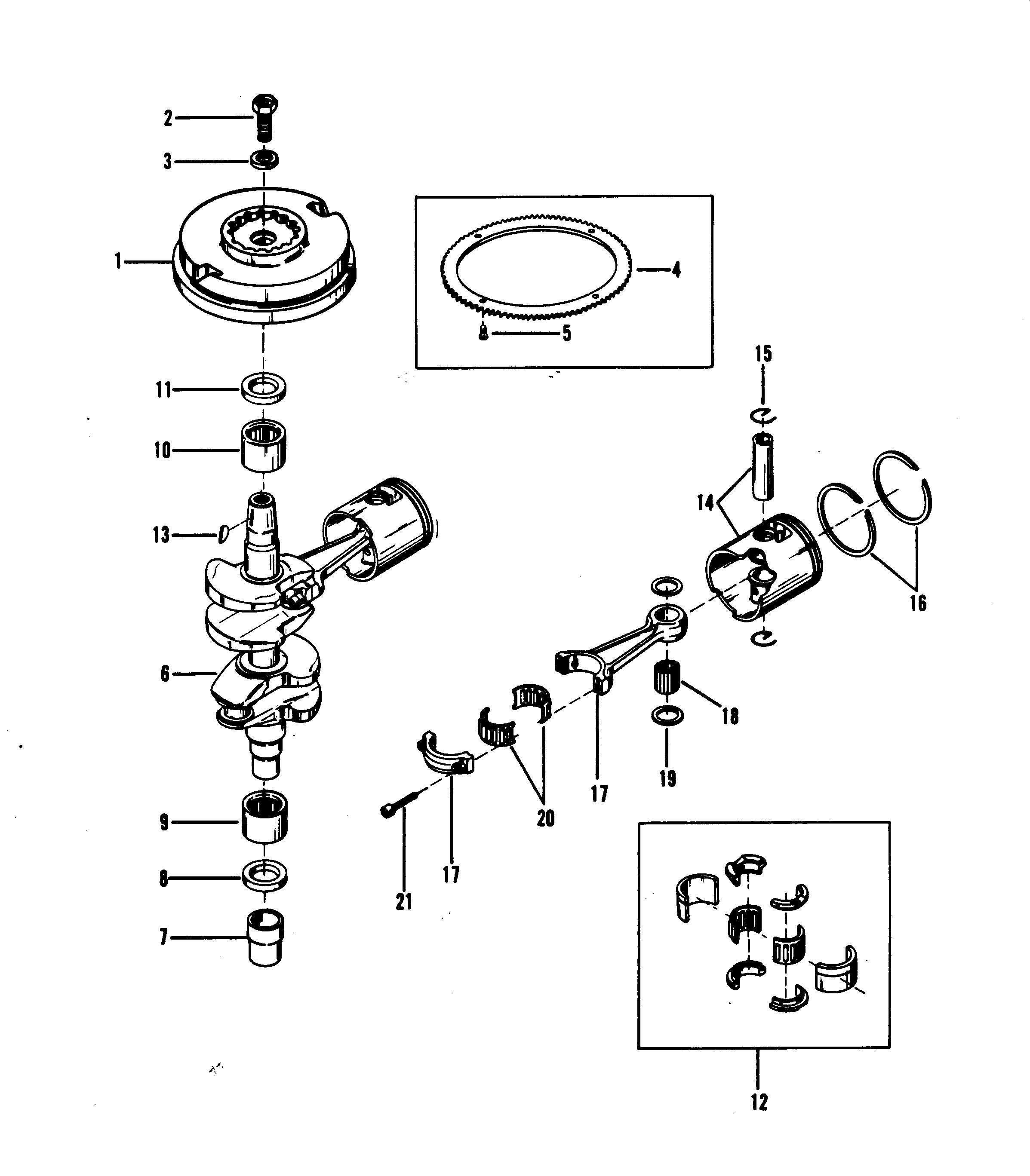 CRANKSHAFT, PISTONS AND FLYWHEEL FOR MARINER / MERCURY 18