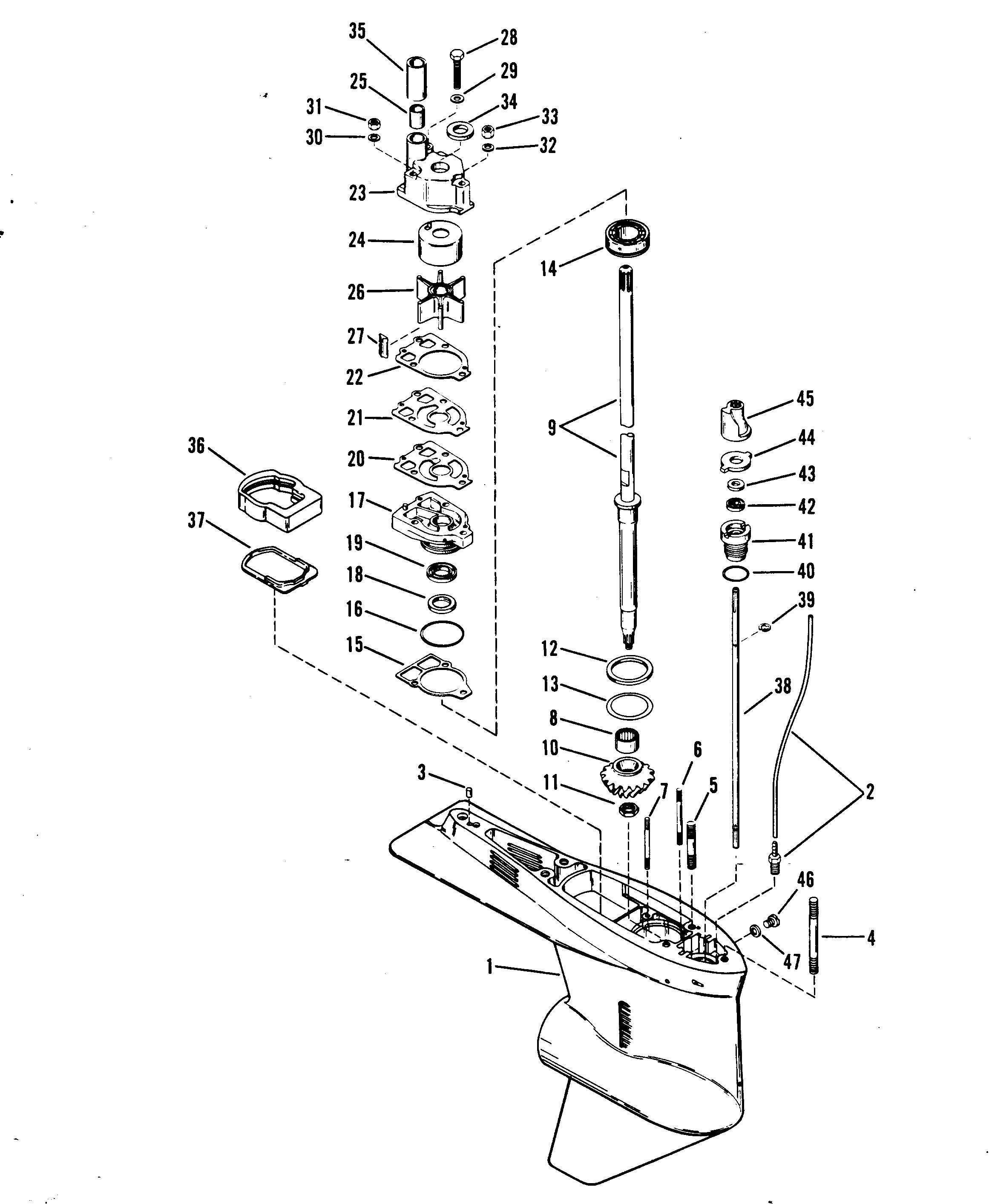 Gear Housing Drive Shaft For Mariner Mercury 75 H P