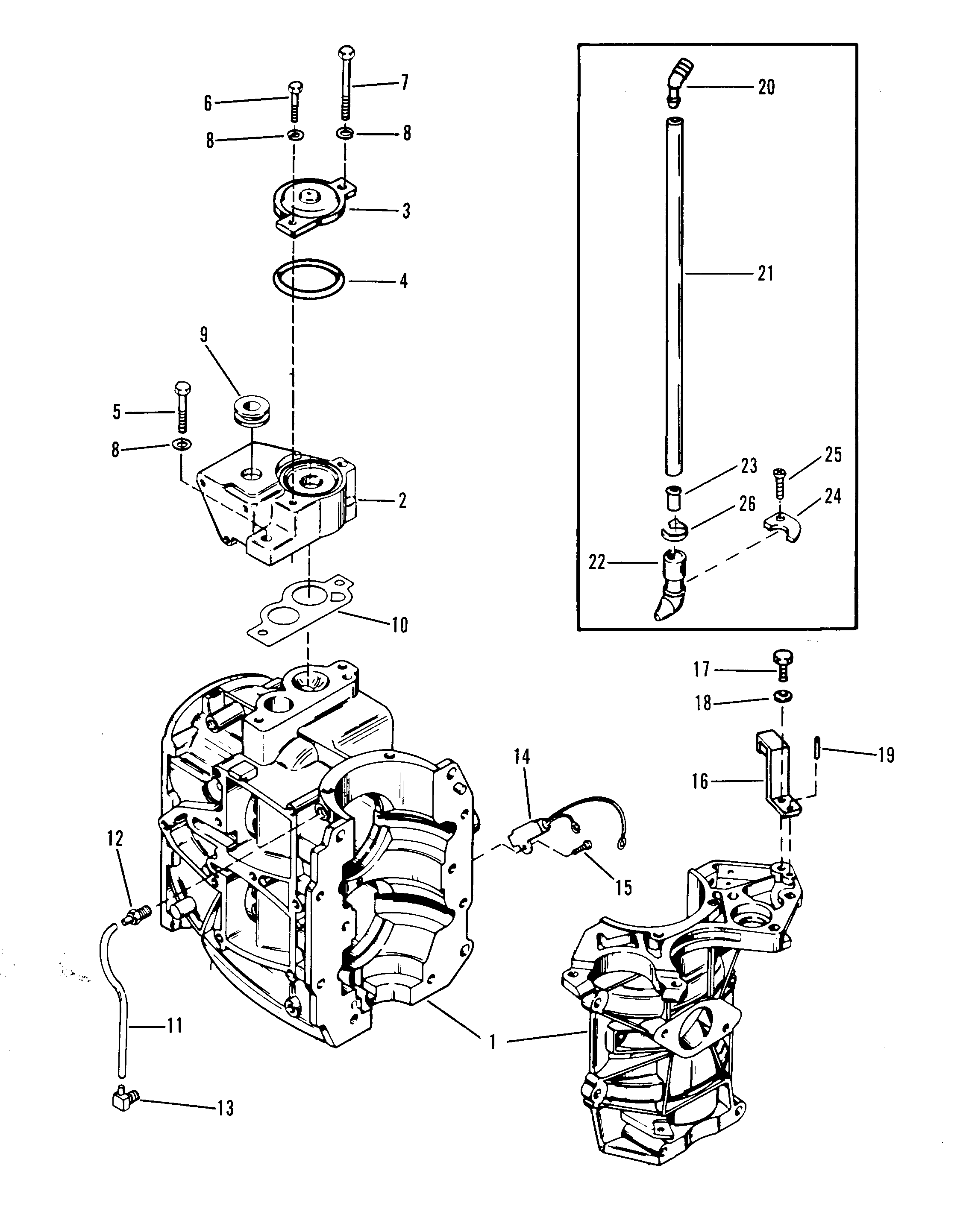 CYLINDER BLOCK AND THERMOSTAT FOR MERCURY 35 H.P.