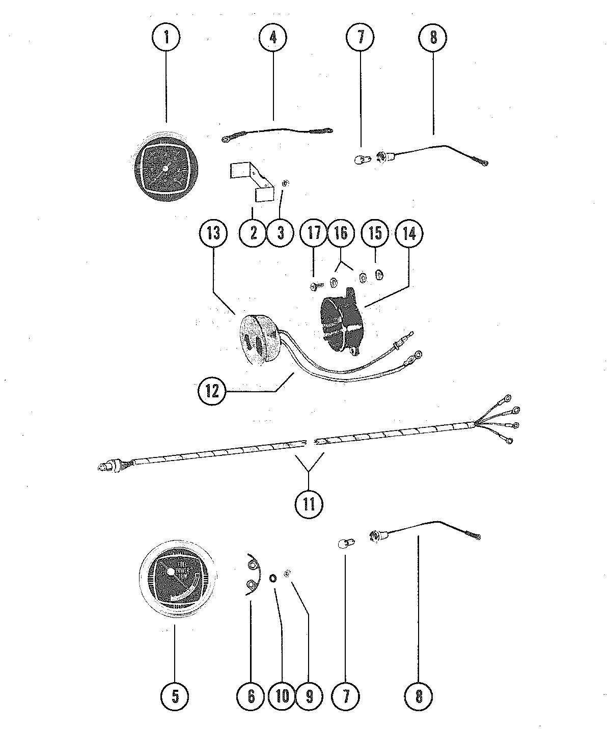 TACHOMETER, TRIM GAUGE AND ALARM HORN FOR MERCURY MERC V-225