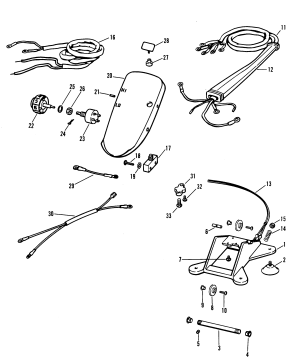 WIRING HARNESS AND FOOT PLATE RC FOR MARINER  MERCURY