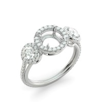 Round 3 Stone Halo Semi Mount Diamond Engagement Ring