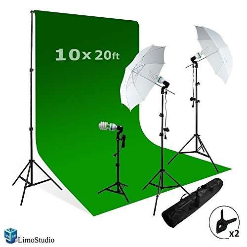 limostudio video photo chromakey green screen light kit 3 point studio photography lighting kit agg408