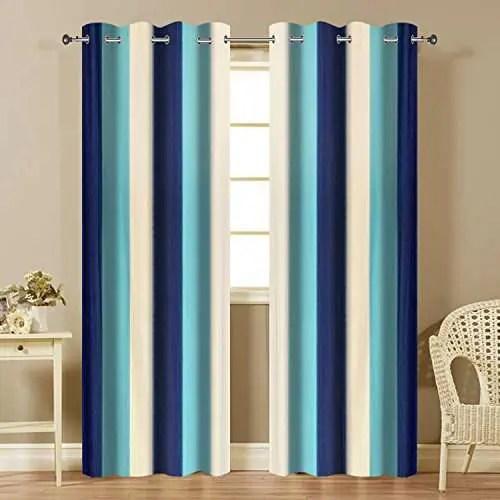 famekart royal multi shade stripped pattern design window door curtain blue sky blue white window door 7 feet pack of 2 curtains
