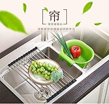 generic china 32 cm stainless steel over the sink dish drying rack rollable foldable and easy to store silicon foldable dish rack
