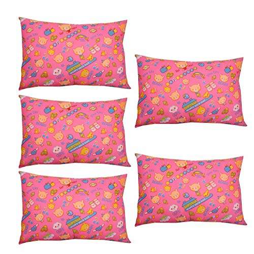 sonnasoft 5 piece reliance fibre pillow set 16x24 pillow white colour and free 5 cover teddy printed pink colour