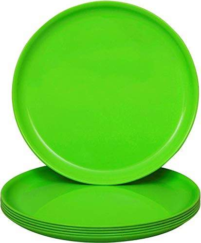 utensza 7 plastic round half plate set of 6 pcs unbreakable microwave safe green color18 c m