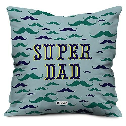 indigifts father birthday gifts super dad beautiful cushion cover 18x18 inches grey best dad papa birthday gifts fathers day gifts parents