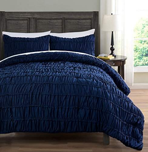 ruched bedding 3 piece comforter set pinch pleat bed cover color navy blue size king cal king by cozy beddings