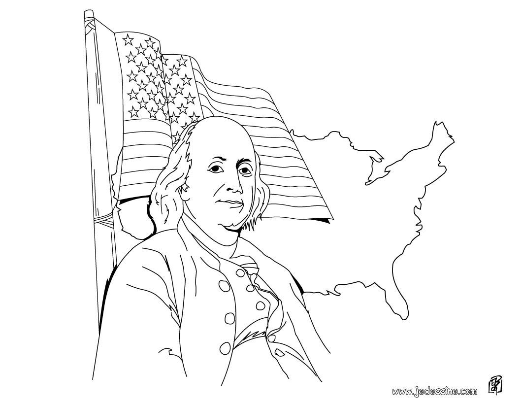 Coloriages Coloriage De Benjamin Franklin Pour L