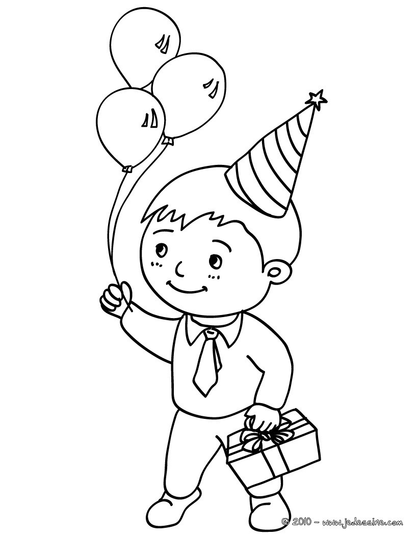 Coloriage Petit Garcon Avec Son Cadeau Danniversaire Et Ballons Gonflables