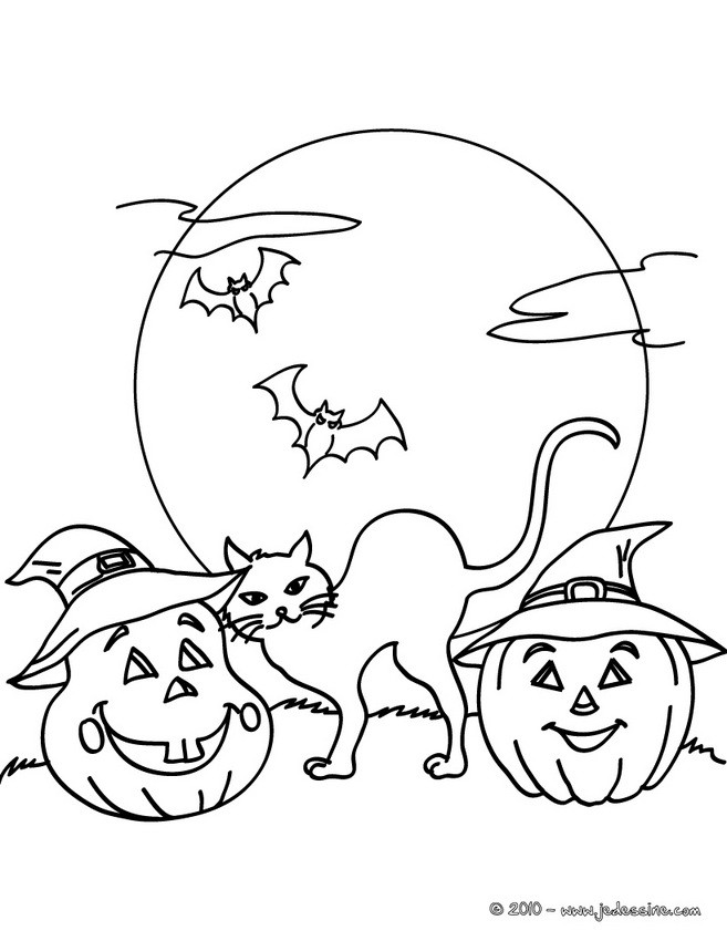Coloriages chat nuit halloween gratuit  frhellokidscom