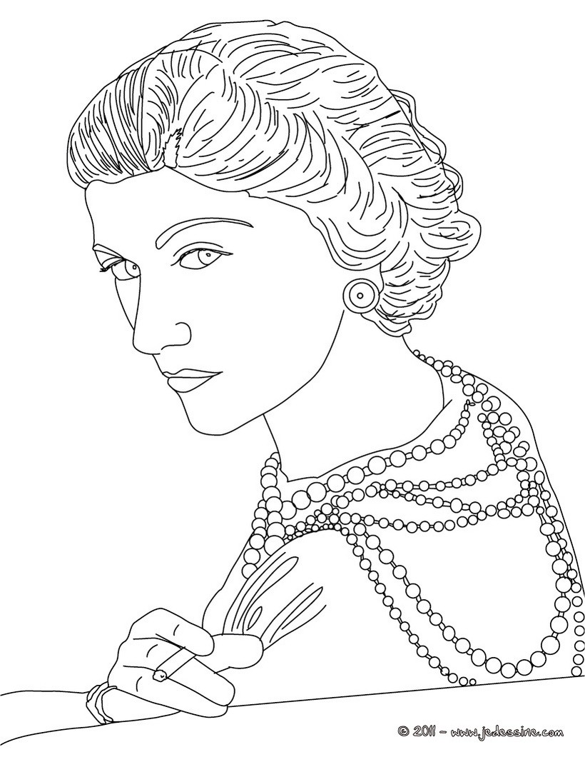 Coco Chanel Sketches Sketch Coloring Page