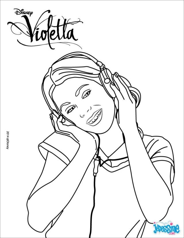 Coloriages violetta écoute de la musique - fr.hellokids.com