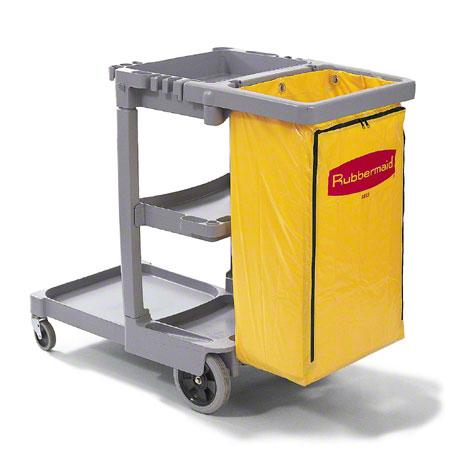 Rubbermaid Janitor Cart wZippered Yellow Vinyl Bag Gray