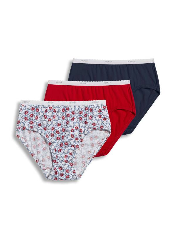 Jockey Womens Classic Hipster 3 Pack Underwear Hipsters 100 Cotton