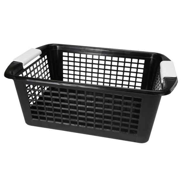 Flip N Stack Large Black Plastic Baskets Black Storage