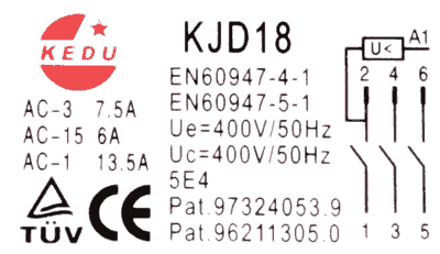 Drehstrom-Einbauschalter Kedu KJD18, 400V (Ersatz für DKLD