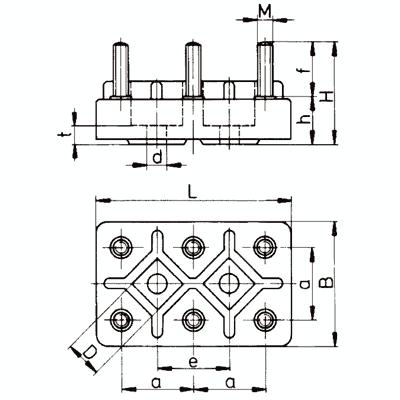 Motors-terminal board K1M 5, 6-pole, M5