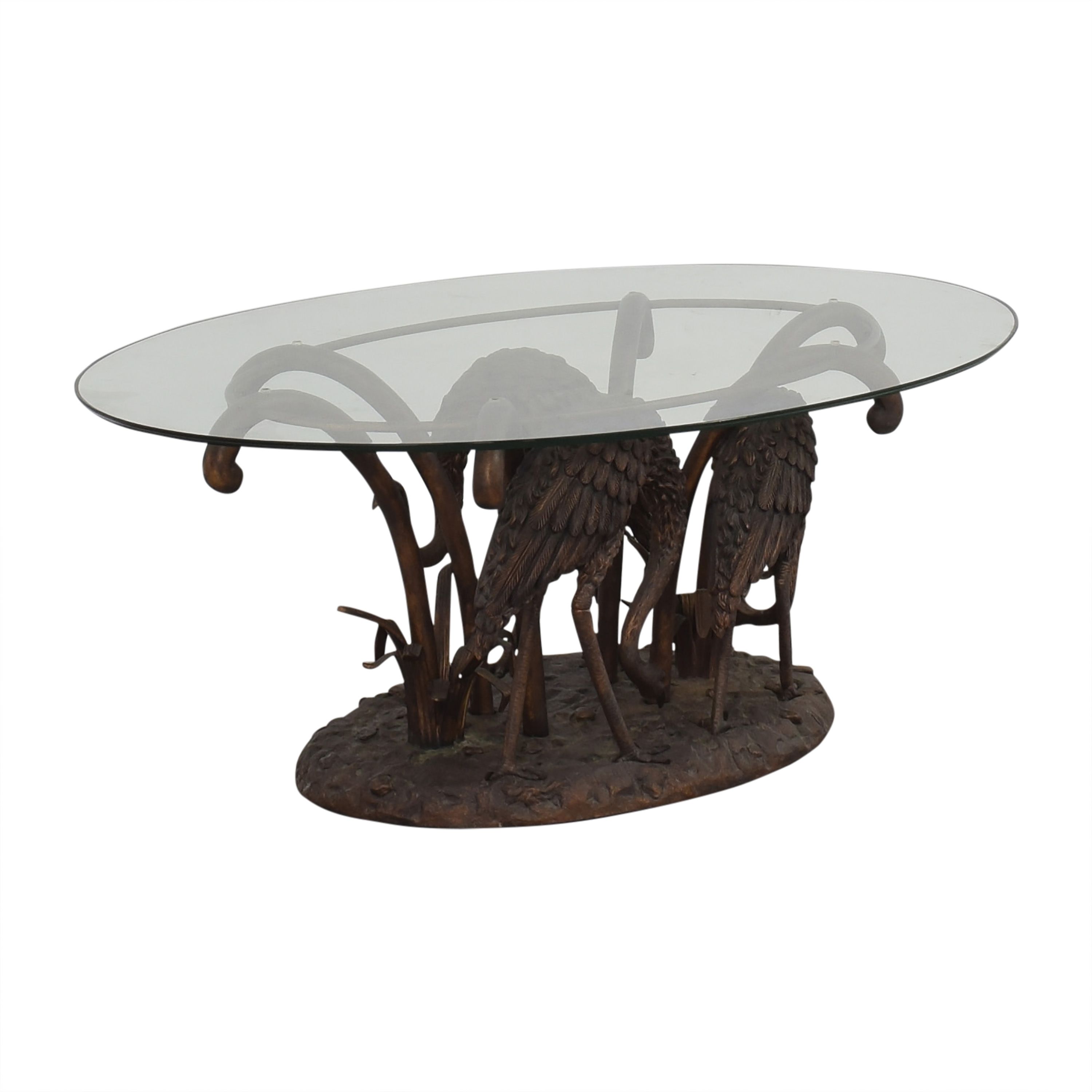 90 off sculpture base glass coffee table tables