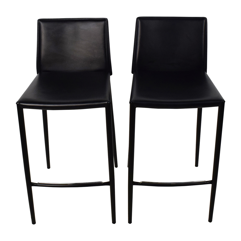 80 Off Calligaris Calligaris Boheme Black Leather Bar Stool Set Chairs