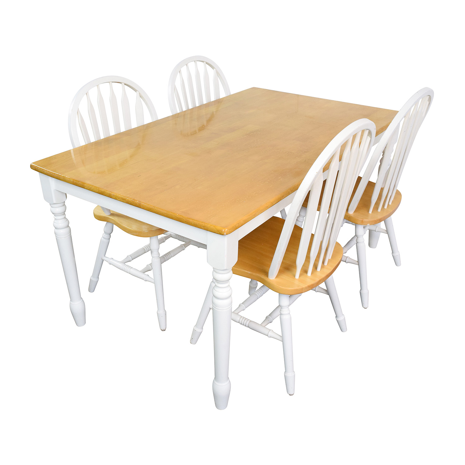 White Wooden Dining Chairs 63 Off White And Natural Wood Color Dining Set Tables