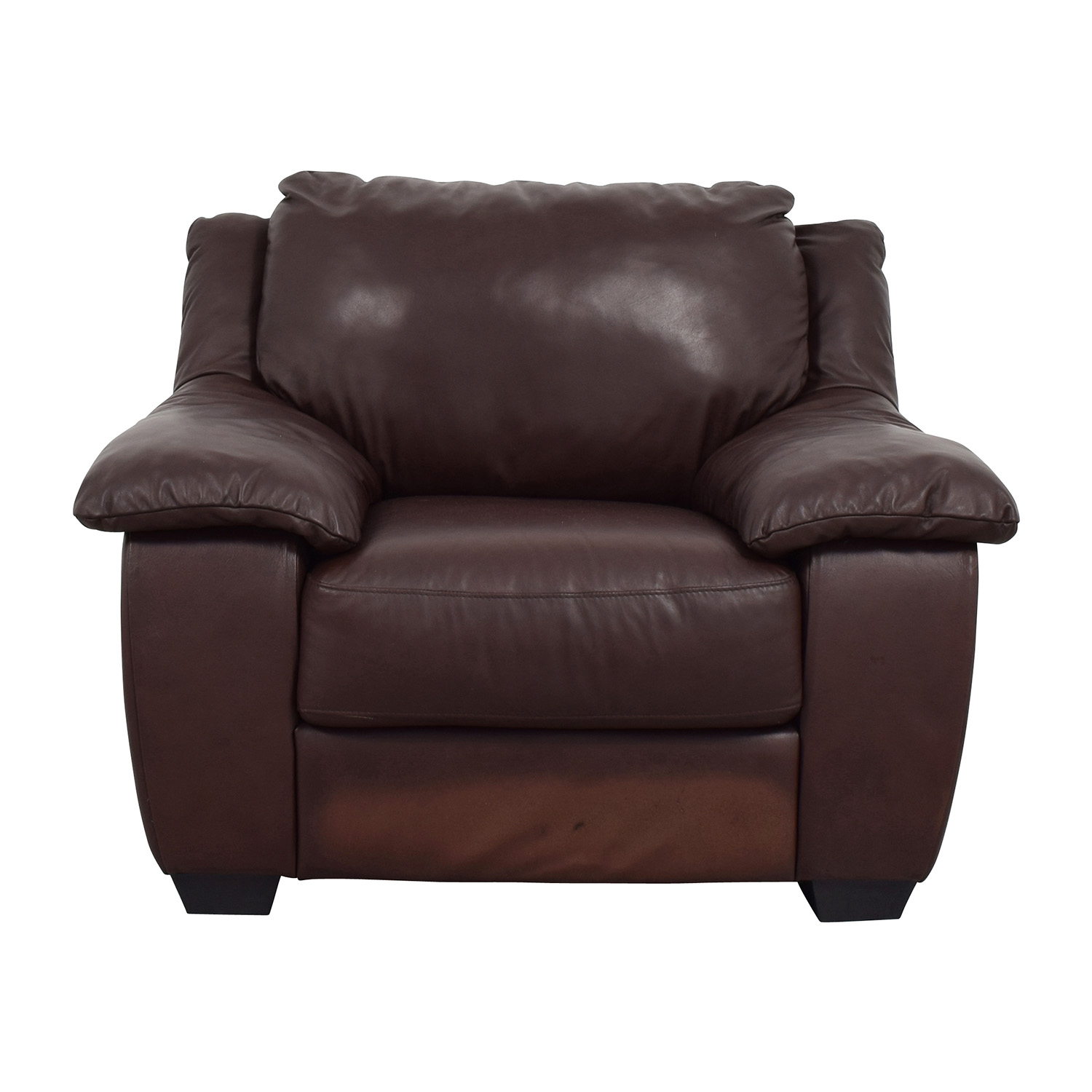Plush Chairs 84 Off Natuzzi Italsofa Brown Leather Plush Armchair Chairs