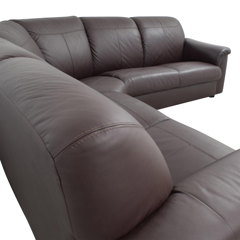 71 off ikea ikea plush brown leather sectional sofas
