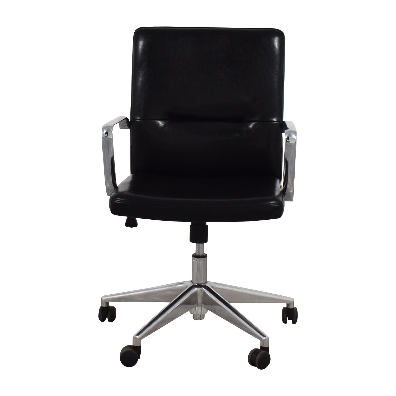 58 OFF  Sleek Black Office Chair with Chrome Armrest