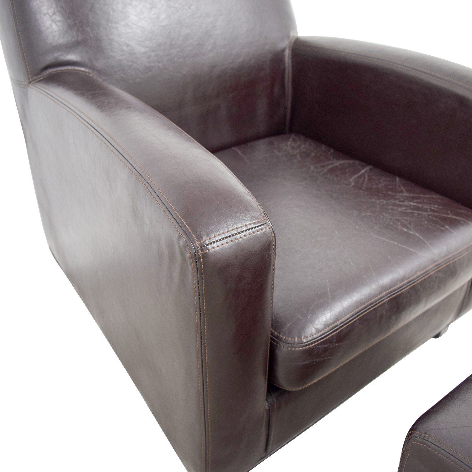 52 Off Ikea Ikea Bonded Brown Leather Chair And Ottoman Chairs  sc 1 th 225 & Ikea Leather Arm Chair   White Leather Armchair Marijarathe