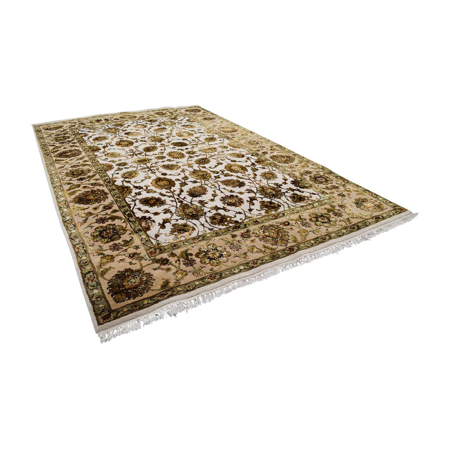 90 Off Beige Green And Gold Oriental Rug Decor