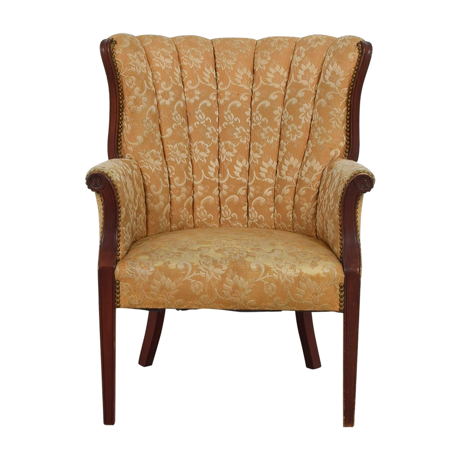 Antique Accent Chairs 87 Off Antique Indigo Yellow Wingback Accent Chair Chairs