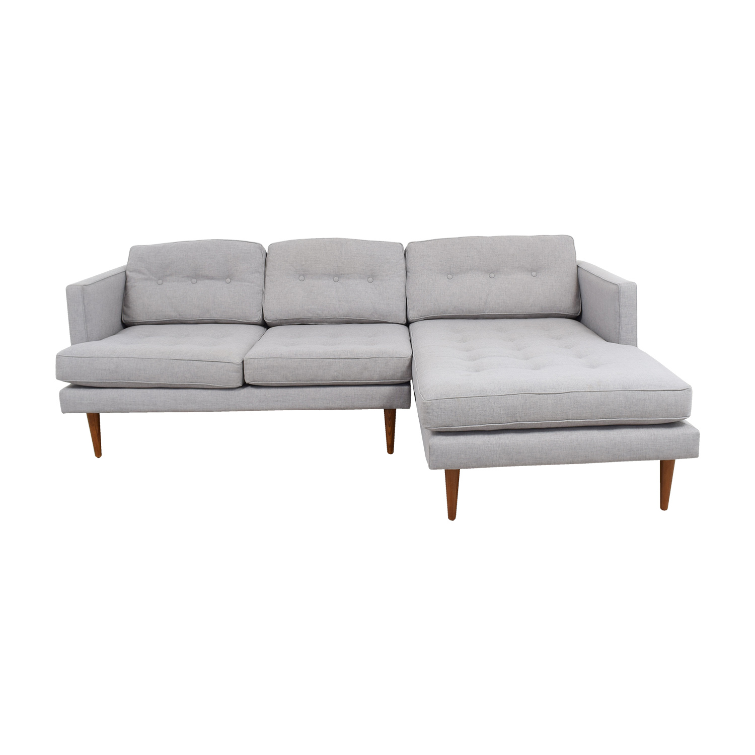 72 off west elm west elm grey tufted chaise sectional sofas