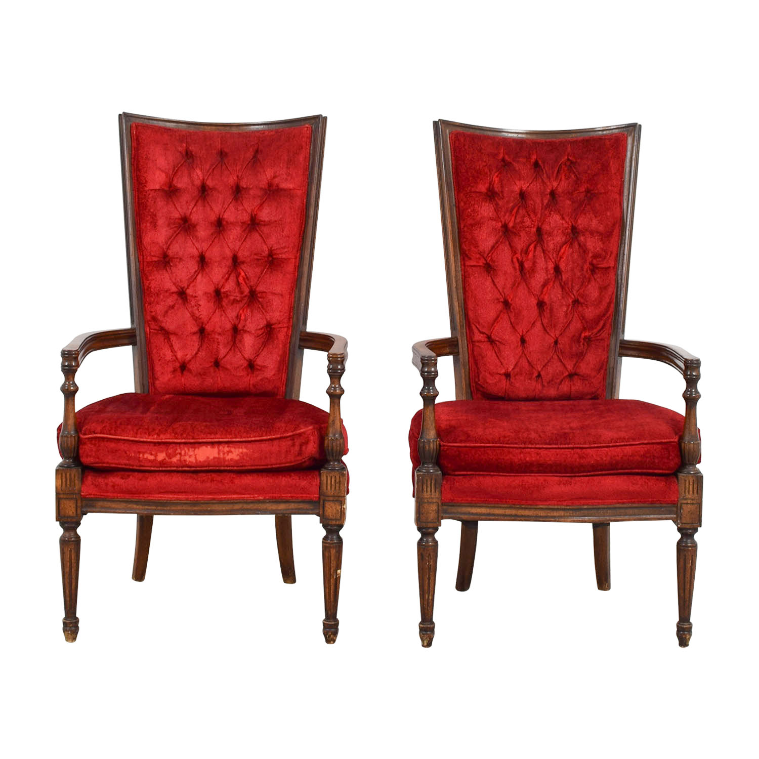 Vintage Accent Chair 79 Off Vintage Red Tufted High Back Accent Chairs Chairs