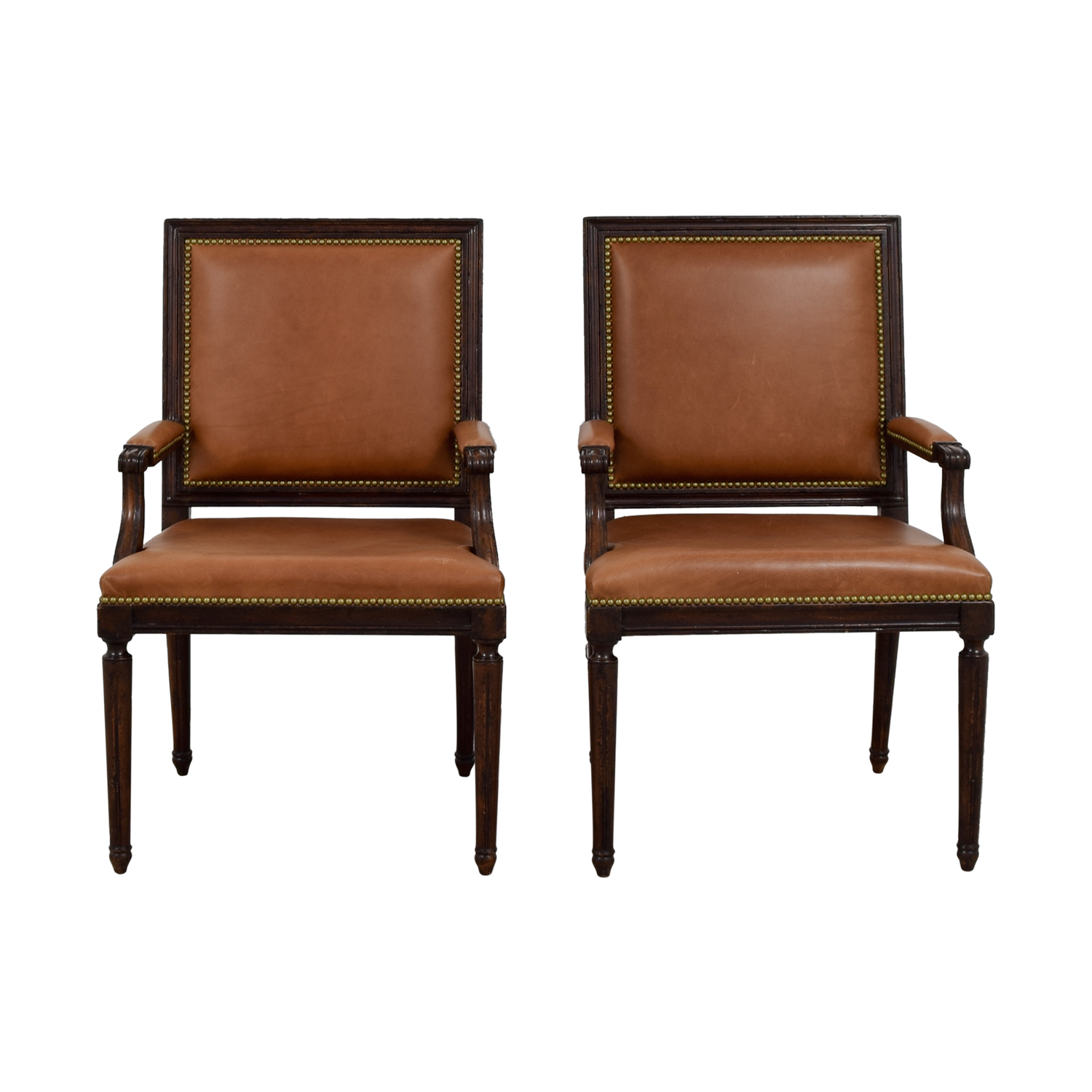 Henredon Chair 64 Off Henredon Furniture Henredon Brown Leather Nailhead Accent Chairs Chairs
