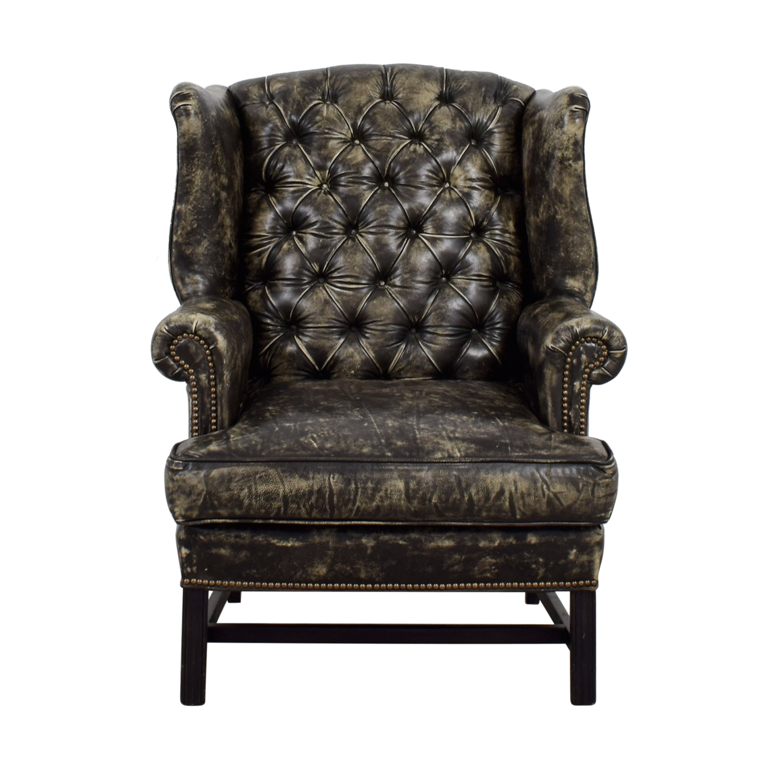 Restoration Hardware Leather Chairs 33 Off Restoration Hardware Restoration Hardware Wingback Distressed Black And Cream Leather Chair Chairs