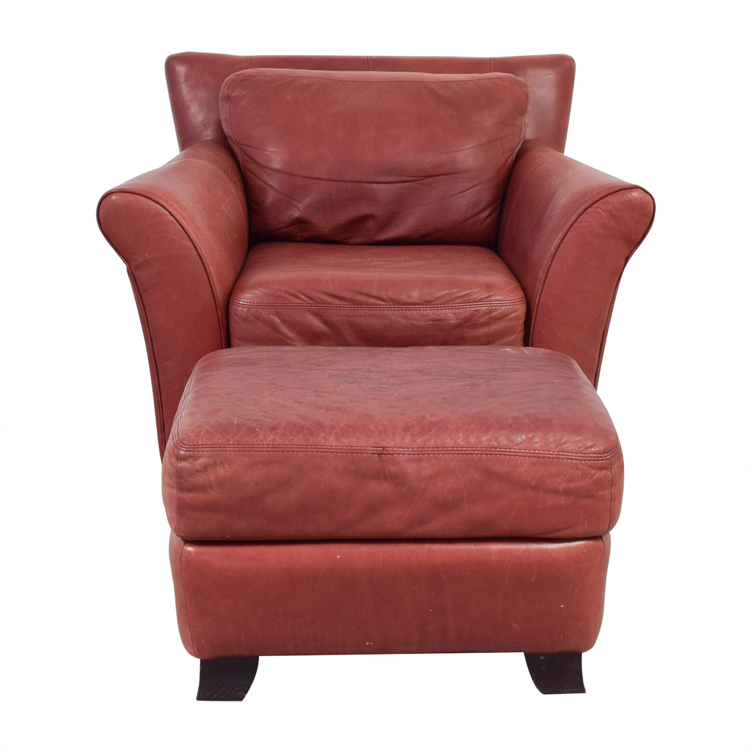 Leather Chairs With Ottoman 73 Off Palliser Palliser Red Leather Chair And Ottoman Chairs