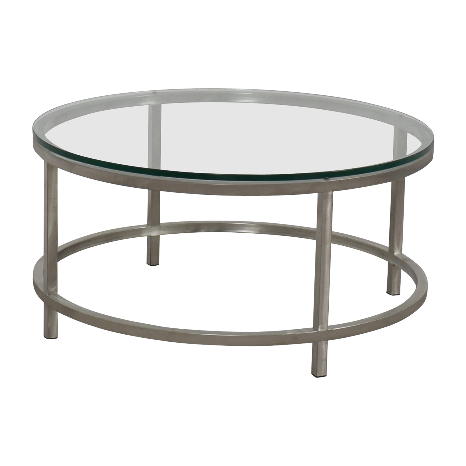 64 off crate barrel crate barrel era round glass and chrome coffee table tables