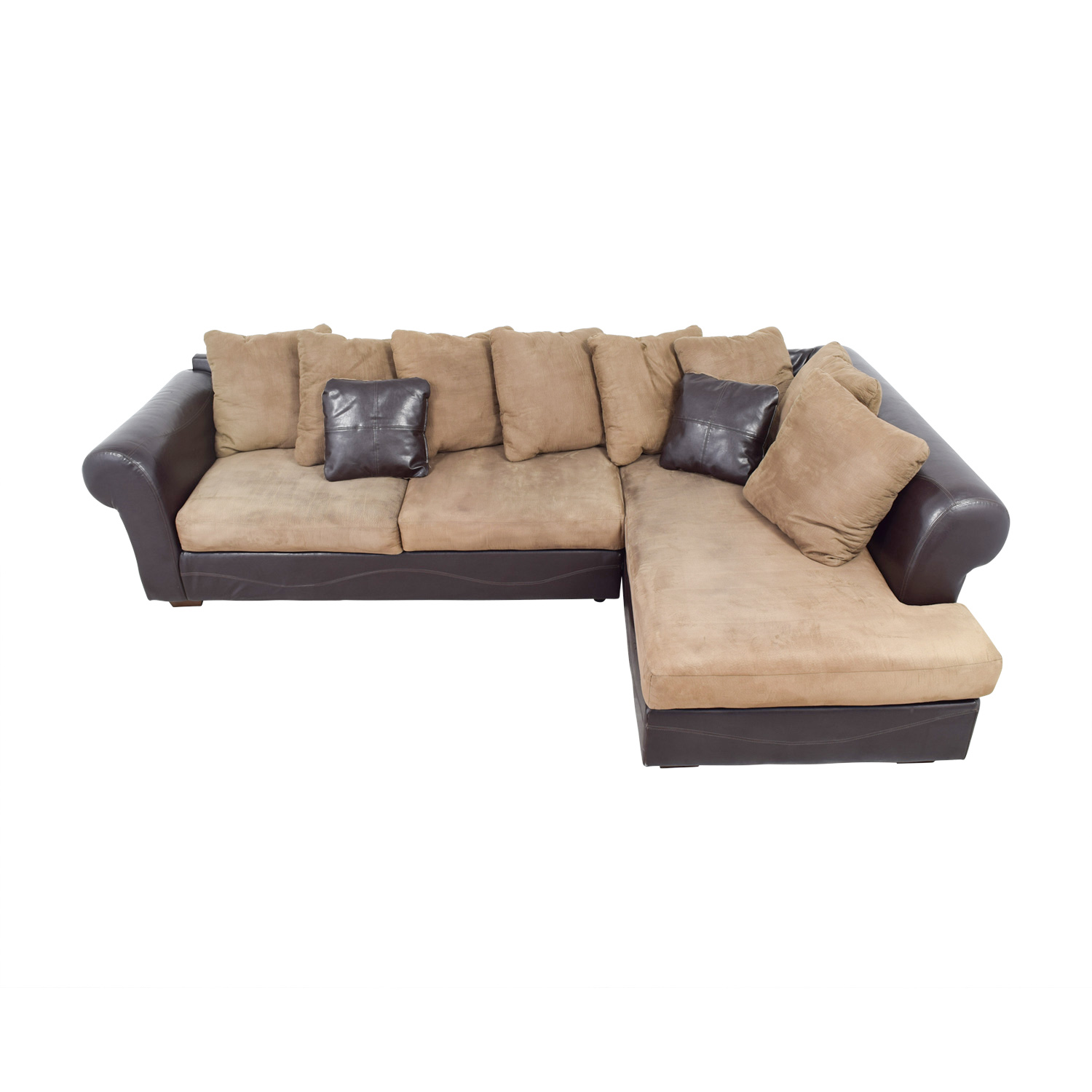 68 off ashley furniture ashley furniture brown leather and tan microfiber chaise sectional sofas