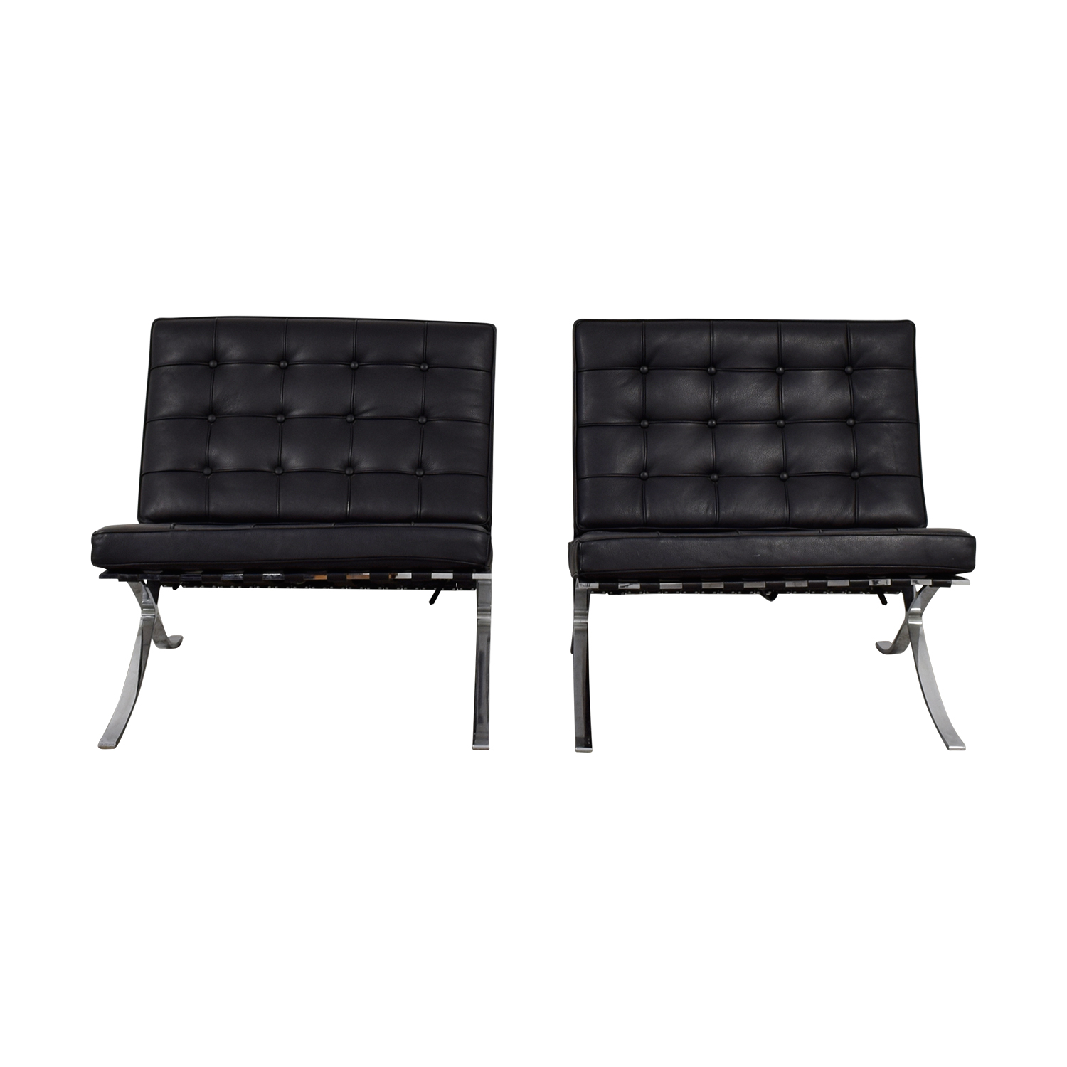 Barcelona Chairs For Sale 90 Off Black And Chrome Tufted Barcelona Style Accent Chairs Chairs