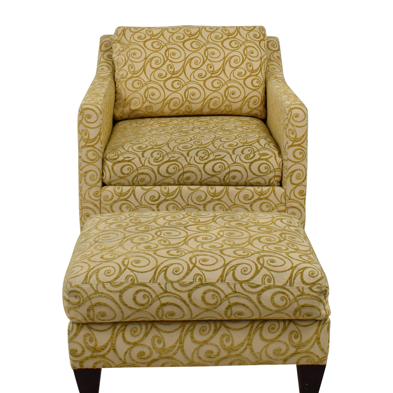 Ethan Allen Club Chairs 79 Off Ethan Allen Ethan Allen Beige And Gold Monterey Chair And Ottoman Chairs