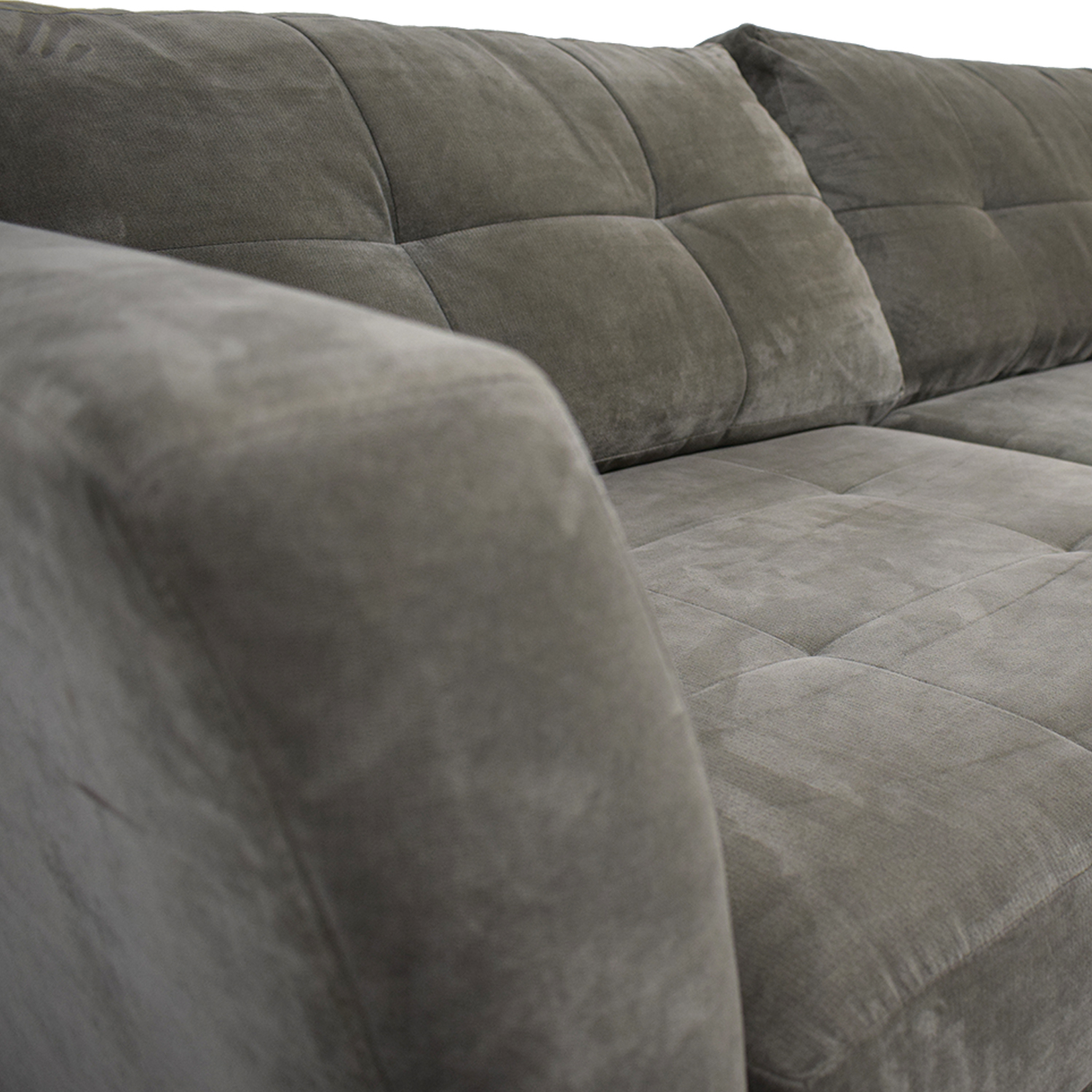 79 off macy s macy s elliot grey microfiber semi tufted chaise sectional sofas