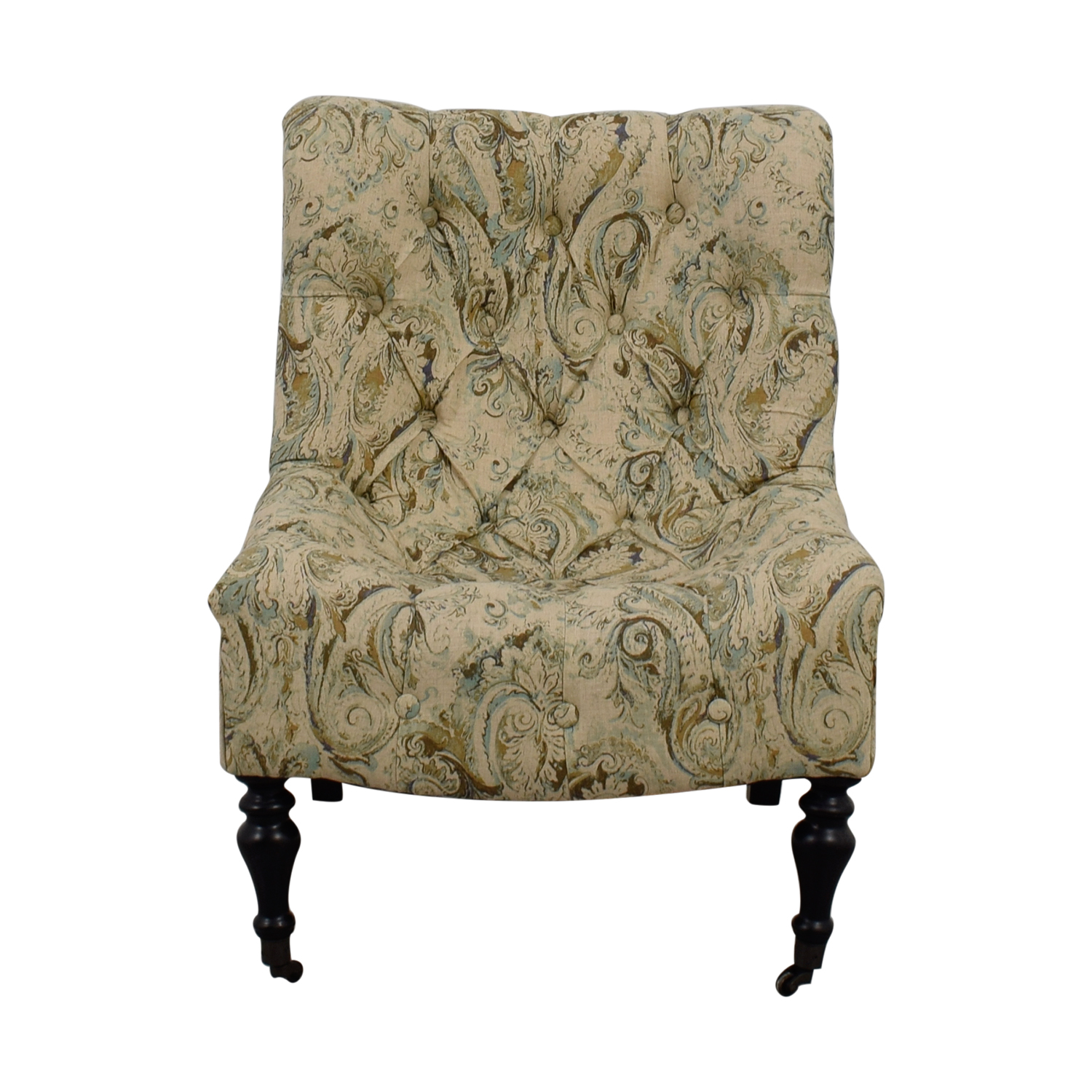 Green Upholstered Chair 75 Off Bombay Company Bombay Beige With Blue And Green Upholstered Accent Chair Chairs