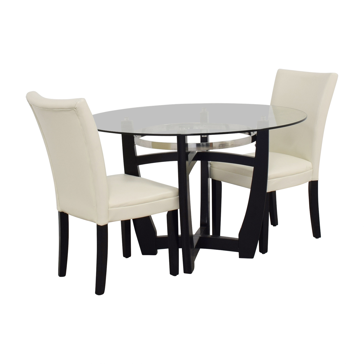 88 Off Bob S Discount Furniture Bob Furniture Round Glass Table And White Chairs Tables
