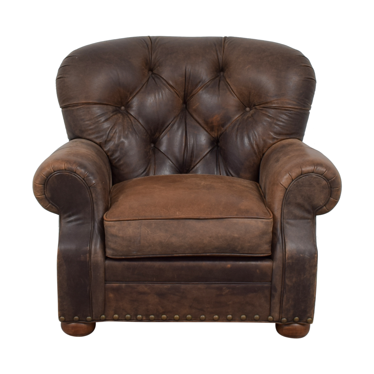 Restoration Hardware Leather Chairs 88 Off Restoration Hardware Restoration Hardware Churchill Brown Leather Tufted Nailhead Chair Chairs