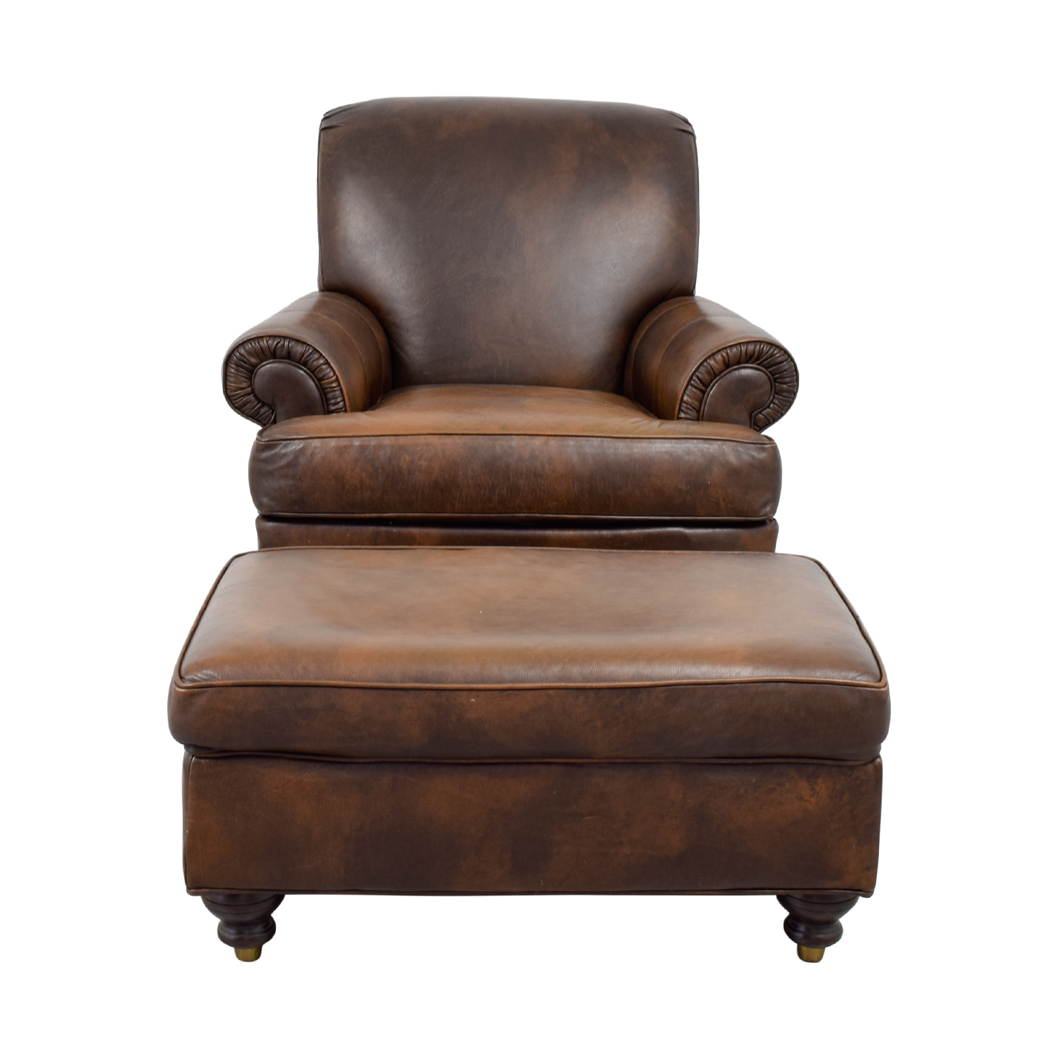 Leather Chairs With Ottoman 84 Off Ethan Allen Ethan Allen Brown Leather Chair Ottoman Chairs