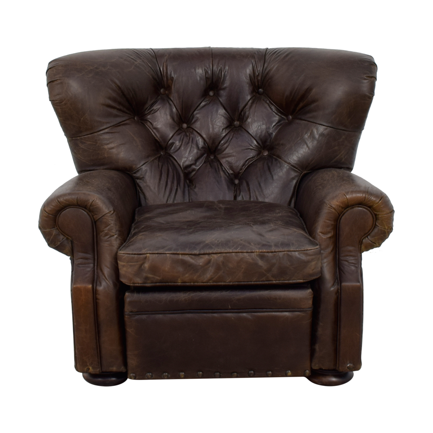 62 off restoration hardware restoration hardware churchill brown leather nailhead tufted recliner chairs